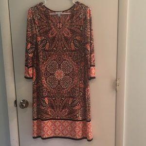 Paisley three-quarter sleeve dress